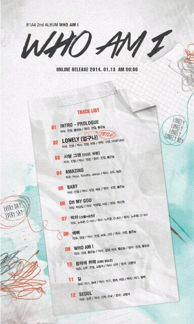 B1A4's 2nd Full Album - Lonely  (tracklist)